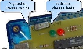 Position de l'interrupteur à glissière pour le choix de la vitesse de programmation