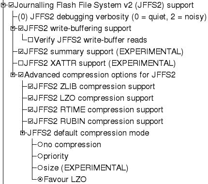 Paramètres noyau pour JFFS2