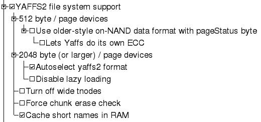 Paramètres noyau pour le système de fichier YAFFS2