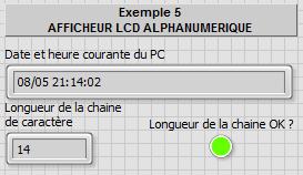 Exemple 5 - Afficheur LCD alphanumerique - Face avant LabVIEW