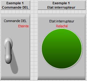 Face avant dans LabVIEW - Exemple 1 DEL et Inter